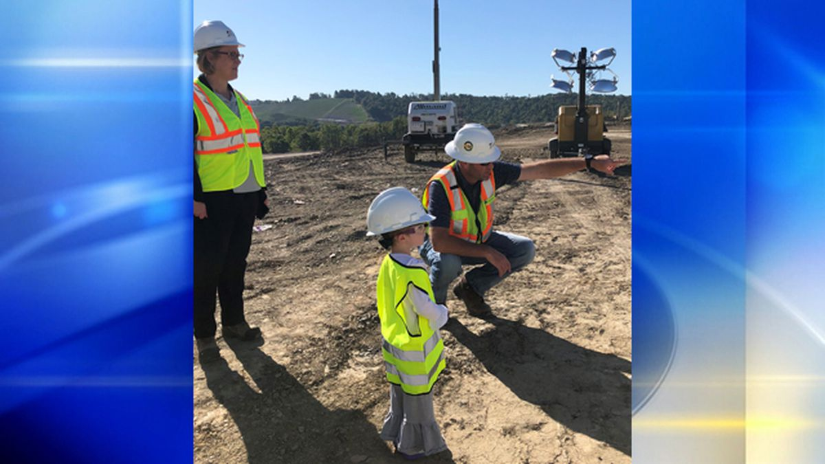 Young cancer patient receives Random Act of Light, visits construction site