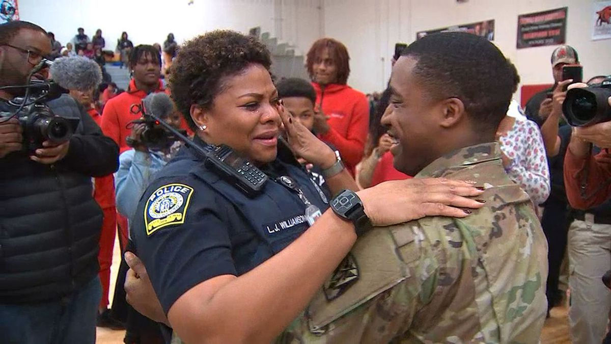 WATCH: Army sergeant surprises mom at pep rally after serving 2 years overseas