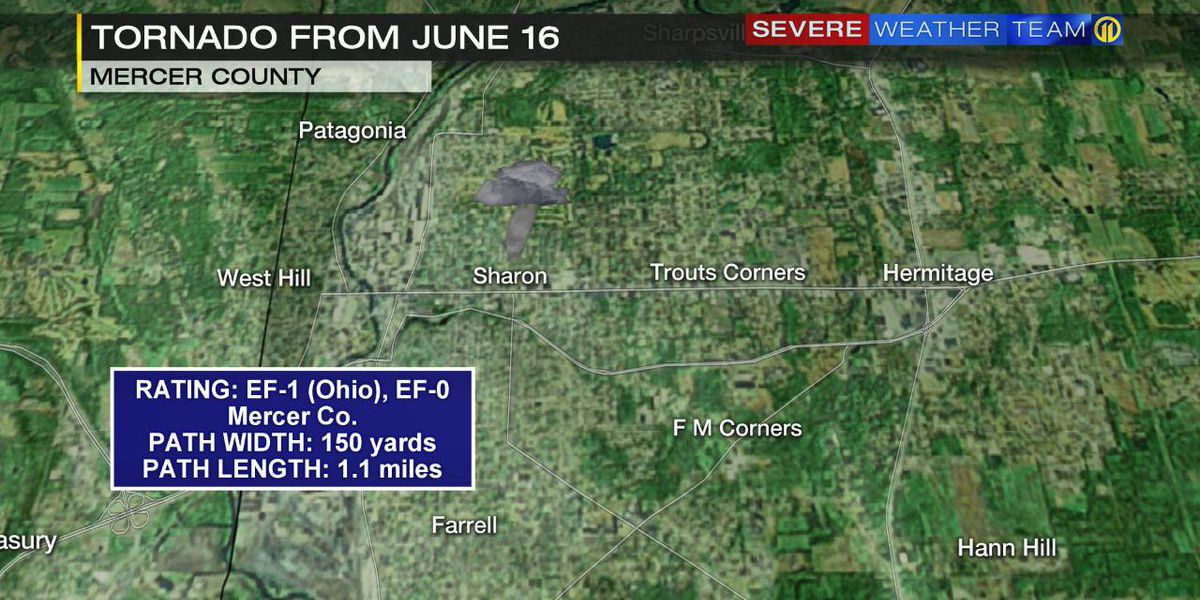 Tornado moved into Mercer County as EF-0 during mid-June storms