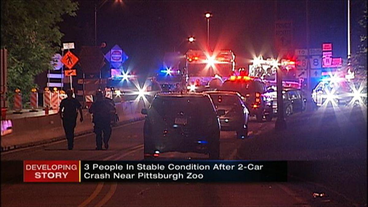 3 hurt in construction zone crash near Pittsburgh Zoo